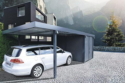Einzelcarport mit Geräteraum aus Wandelementen Stahlwelle von Uninorm